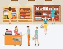 人们在超级市场有手提篮的杂货店 向量例证