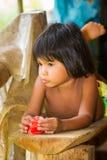 人们在EMBERA村庄,巴拿马 图库摄影