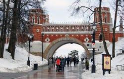 人们在Tsaritsyno公园走在莫斯科在冬天 免版税库存照片