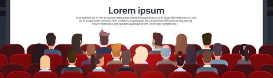 人们坐看有拷贝空间的戏院霍尔后面背面图Ar屏幕 向量例证