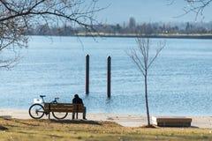 人们坐长凳在公园,华盛顿 库存图片