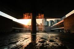 人类学国家博物馆在日落,墨西哥城,墨西哥的 免版税图库摄影