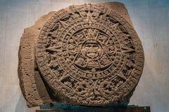 人类学Museo Nacional de Antropologia, MNA -墨西哥城,墨西哥国家博物馆的阿兹台克Sunstone  免版税库存图片