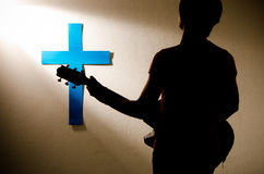 人崇拜耶稣 免版税库存照片