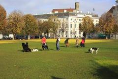 人们是松弛在公开城市公园 免版税库存图片