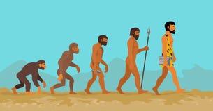 人类演变的概念从猿到人 免版税库存照片