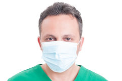 人医生佩带的外科医生面具的特写或画象 免版税图库摄影