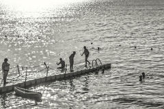 人们由后照的明亮的夏天太阳剪影  免版税库存图片