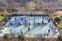 人们由xian护城河打乒乓球在冬天 免版税库存照片