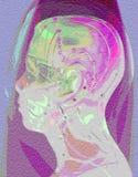 人头医疗针灸模型在摘要的 库存照片