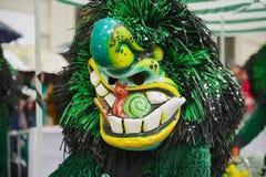 人戴着Waggis面具在巴塞尔狂欢节在巴塞尔,瑞士 库存图片