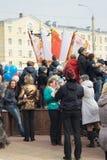 人们等待奥林匹克圣火 库存照片