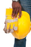 黑人建筑工人 免版税图库摄影
