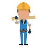 人建筑木板和工具传送带 免版税库存照片