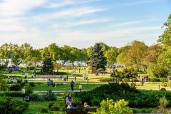 人们获得乐趣在Herastrau公园在春日 免版税库存图片