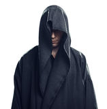 人画象一件黑长袍的 免版税图库摄影