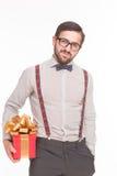 人画象与新年或圣诞节礼物或者礼物 库存照片