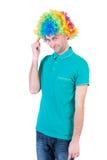 人画象小丑假发的 免版税库存照片