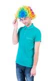 人画象小丑假发的 免版税图库摄影
