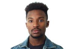 年轻人画象演播室白色背景面孔特写镜头二十 图库摄影