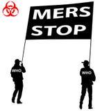 人们运载一个海报中止Mers光环病毒标志 传染媒介illus 库存照片