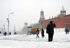 红场在莫斯科在冬天 库存图片