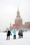 红场在莫斯科在冬天 免版税库存照片