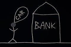 人从银行得到财政帮助购买一辆新的汽车 库存图片