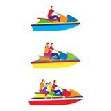 人们,在喷气机滑雪的家庭 竞争跳水池炫耀游泳水 免版税库存照片
