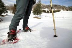 人们,当snowshoeing在山时 库存照片