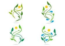 人们,植物,水,自然,商标,健康,太阳,叶子,生态,标志象设计传染媒介集合 免版税库存照片