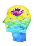 人头, chakra力量,启发抽象想法的想法,在您的头脑里面的宇宙 库存照片