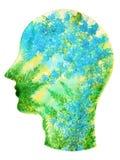人头, chakra力量,启发抽象想法的想法 免版税库存照片