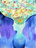 人头, chakra力量,启发抽象想法,世界,在您的头脑里面的宇宙 免版税库存照片