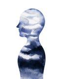 人头, chakra力量,启发抽象认为,世界,在您的头脑里面的宇宙 免版税库存照片