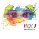 人` s头的水彩图画是肮脏的在油漆,多彩多姿的面孔,画象,被张开的眼睛,在眼睛的虹膜的强光,在holid 皇族释放例证