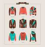 人` s夹克、毛线衣和有冠乌鸦导航例证 库存照片