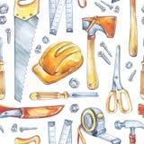 人` s工作例证 与木匠业工具的无缝的样式 水彩轴,锯,轮盘赌,刀子,锤子,盔甲 库存照片