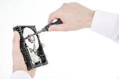 人` s手举行打开3 5硬盘驱动器 免版税库存图片
