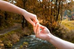 人` s手容易地握一只妇女` s手反对背景  免版税图库摄影