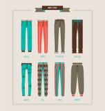 人` s裤子和牛仔裤汇集 免版税图库摄影