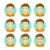 人` s面孔表示 人的情感象传染媒介有白色背景 免版税图库摄影
