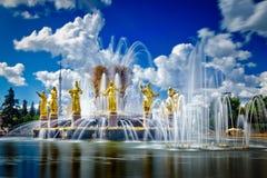 人& x28友谊喷泉的看法; VDNH& x29; 免版税图库摄影