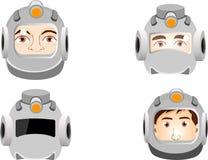 人cosHuman的画象在航天服,在空间的monaut朝向 免版税库存图片