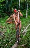 人Mentawai部落在密林进来 免版税图库摄影