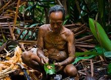 人Mentawai部落生产在苏铁的幼虫甲虫 免版税库存照片