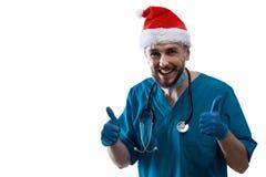 人Surgeon In Christmas圣诞老人医生帽子 库存图片