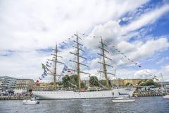 什切青,波兰, 5威严2017年:在码头的船在飞翅期间 免版税库存照片
