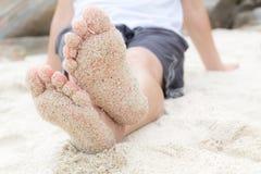 仅有的海滩英尺 免版税图库摄影