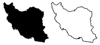 仅简单的锋利的角落映射-伊朗vecto伊朗伊斯兰共和国  库存例证